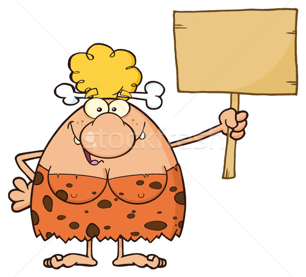 Goofy Blonde Cave Woman Cartoon Mascot Character Holding A Wooden Board Stock photo © hittoon