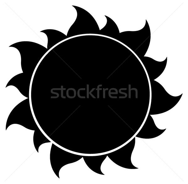 Siyah siluet güneş örnek yalıtılmış beyaz Stok fotoğraf © hittoon