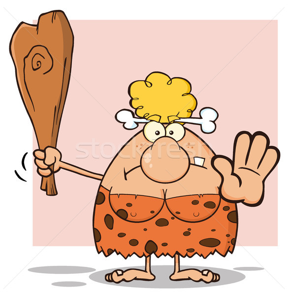 Angry Blonde Cave Woman Cartoon Mascot Character Gesturing And Standing With A Club Stock photo © hittoon