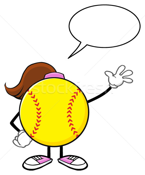 Softball fille mascotte dessinée personnage accueil Photo stock © hittoon