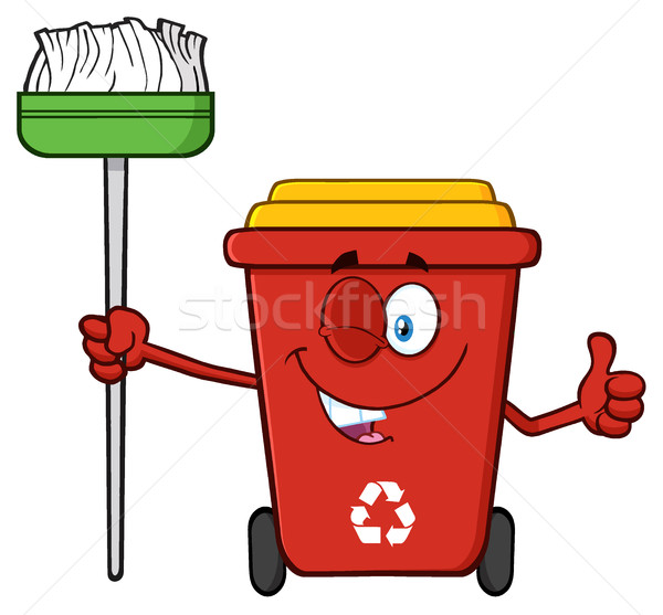 Rood recycleren cartoon mascotte karakter Stockfoto © hittoon