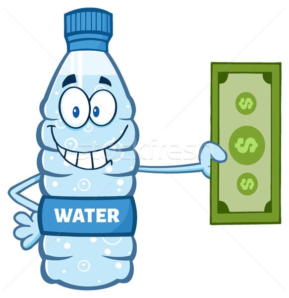 Cartoon Illustation Of A Water Plastic Bottle Cartoon Mascot Character Holding A Dollar Bill Stock photo © hittoon