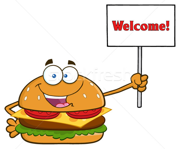 Burger Cartoon Mascot Character Holding A Sign With Text Welcome Stock photo © hittoon