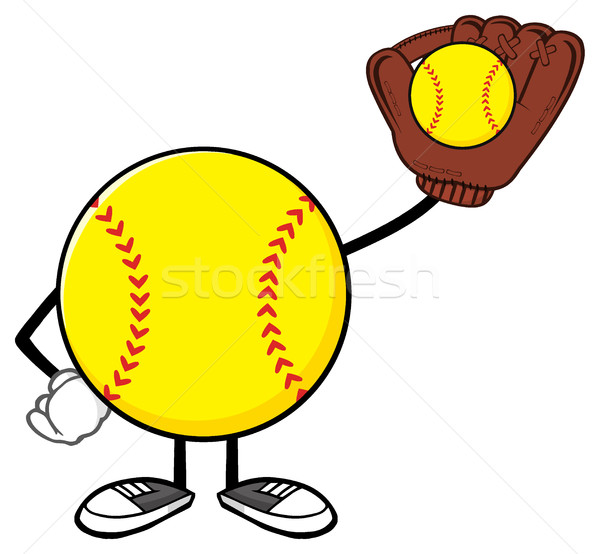 Softball Faceless Player Cartoon Character Holding A Bat And Glove With Ball Stock photo © hittoon