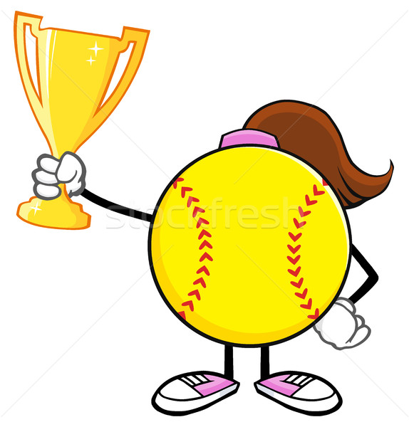 Softball Girl Faceless Cartoon Character Holding A Trophy Cup Stock photo © hittoon