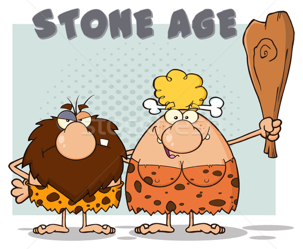 Caveman Couple Cartoon Mascot Characters With Brunette Woman Holding A Club And Text Stone Age Stock photo © hittoon