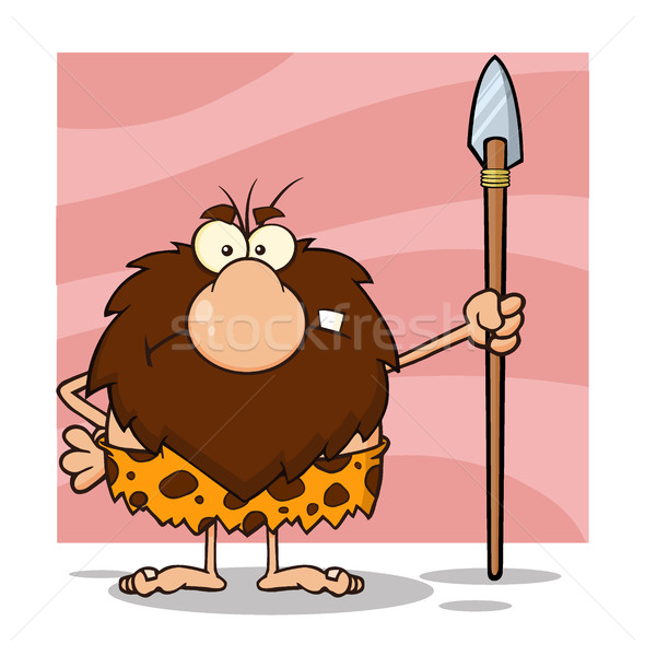 Angry Male Caveman Cartoon Mascot Character Standing With A Spear Stock photo © hittoon