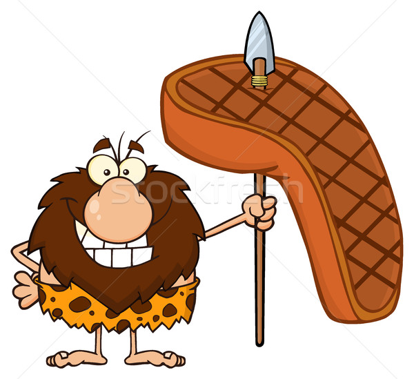 Stock photo: Smiling Male Caveman Cartoon Mascot Character Holding A Spear With Big Grilled Steak