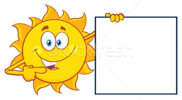 Beszél nap rajzfilm kabala karakter mutat üres tábla Stock fotó © hittoon