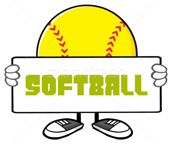 Softball Faceless Cartoon Mascot Character Holding A Sign Stock photo © hittoon