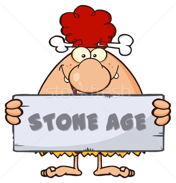 Funny Red Hair Cave Woman Cartoon Mascot Character Holding A Stone Sign With Text Stone Age Stock photo © hittoon