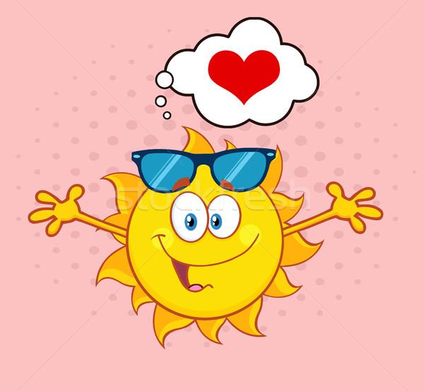 Amore sole mascotte carattere occhiali da sole open Foto d'archivio © hittoon