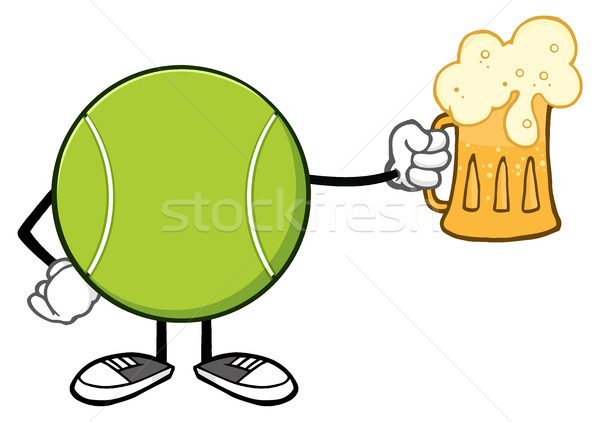 Tennis Ball Faceless Cartoon Mascot Character Holding A Beer Stock photo © hittoon