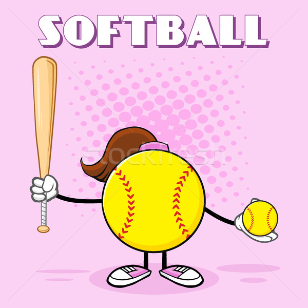 Softball Girl Faceless Cartoon Mascot Character Holding A Bat And Ball Stock photo © hittoon