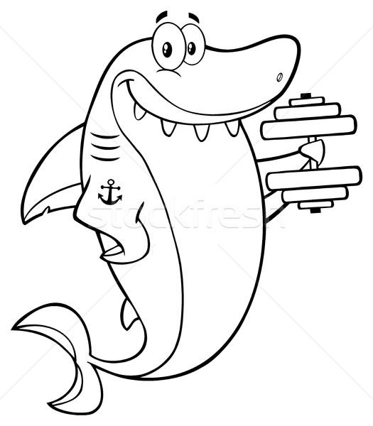 Zwart wit glimlachend haai cartoon mascotte karakter opleiding Stockfoto © hittoon