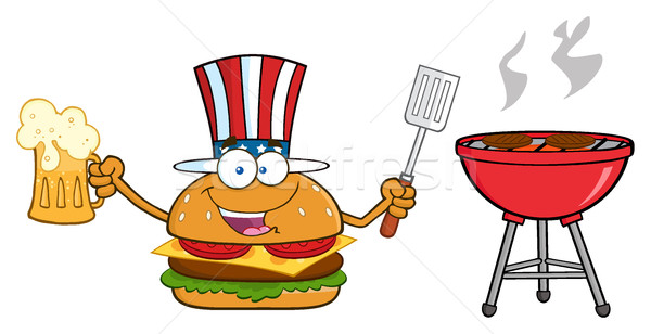 American Burger Cartoon Mascot Character Holding A Beer And Bbq Slotted Spatula By A Grill Stock photo © hittoon