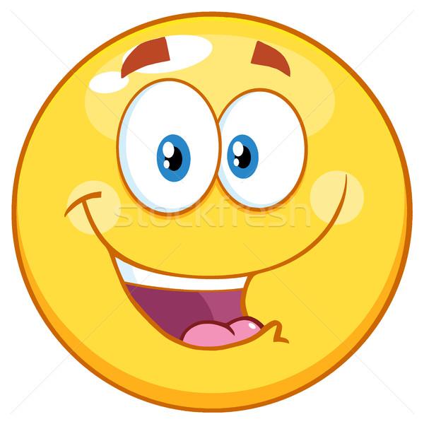 Feliz amarillo emoticon mascota de la historieta carácter Foto stock © hittoon