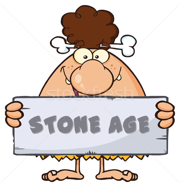 Funny Brunette Cave Woman Cartoon Mascot Character Holding A Stone Sign With Text Stone Age Stock photo © hittoon