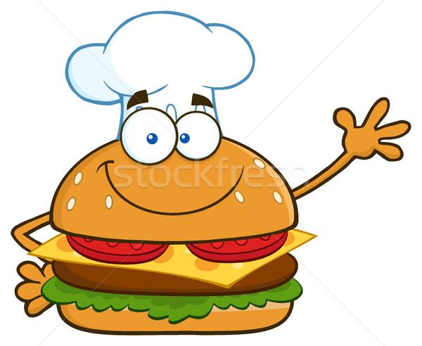 Gülen şef Burger karikatür maskot karakter Stok fotoğraf © hittoon