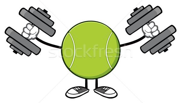 Tennis Ball Faceless Cartoon Mascot Character Working Out With Dumbbells Stock photo © hittoon