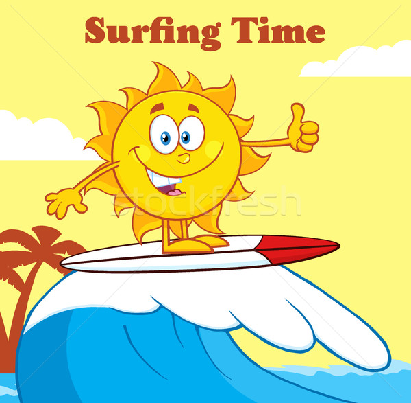 Stock photo: Surfer Sun Cartoon Mascot Character Riding A Wave And Showing Thumb Up