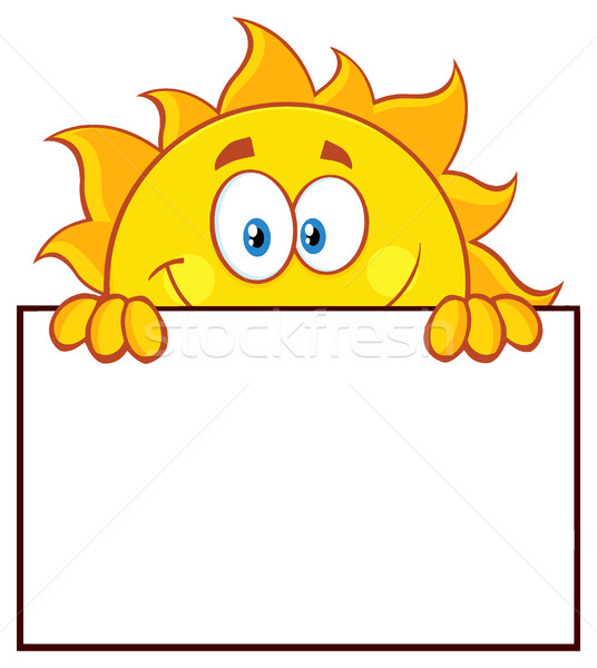 Cheerful Sun Cartoon Mascot Character Over A Sign Blank Board Stock photo © hittoon