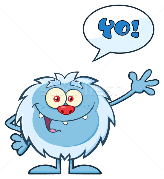 Smiling Little Yeti Cartoon Mascot Character Waving For Greeting With Speech Bubble And Text Yo! Stock photo © hittoon