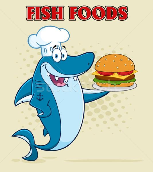 Chef Blue Shark Cartoon Mascot Character Holding A Big Burger Stock photo © hittoon