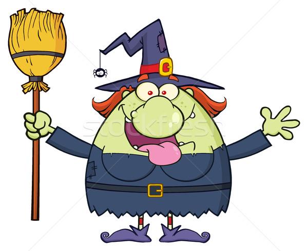 Mutlu cadı karikatür maskot karakter süpürge Stok fotoğraf © hittoon