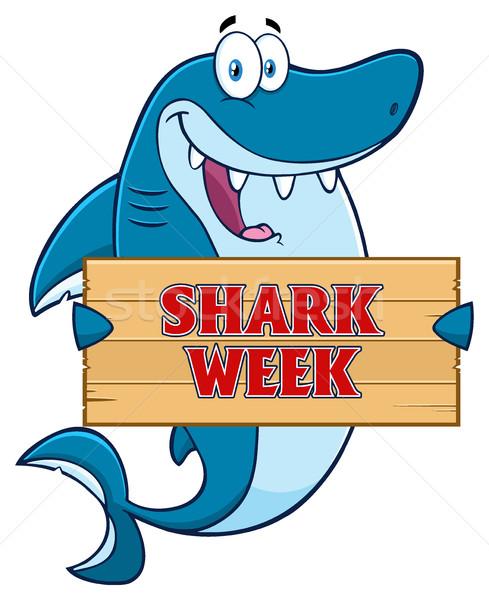 Gelukkig Blauw haai cartoon mascotte karakter Stockfoto © hittoon