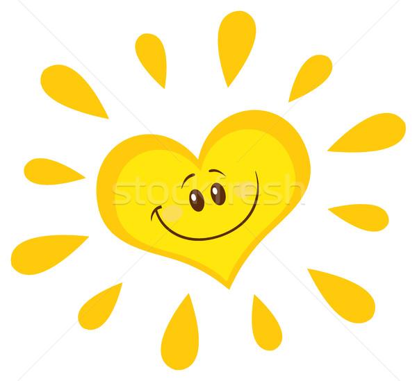 Sorridente sol coração mascote ilustração Foto stock © hittoon