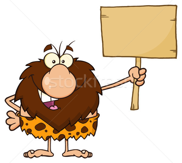 Male Caveman Cartoon Mascot Character Holding A Wooden Board Stock photo © hittoon