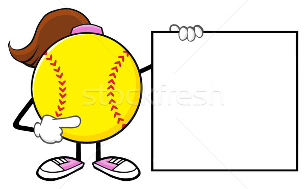 Softball Girl Faceless Cartoon Mascot Character Pointing To A Banner Blank Sign Stock photo © hittoon