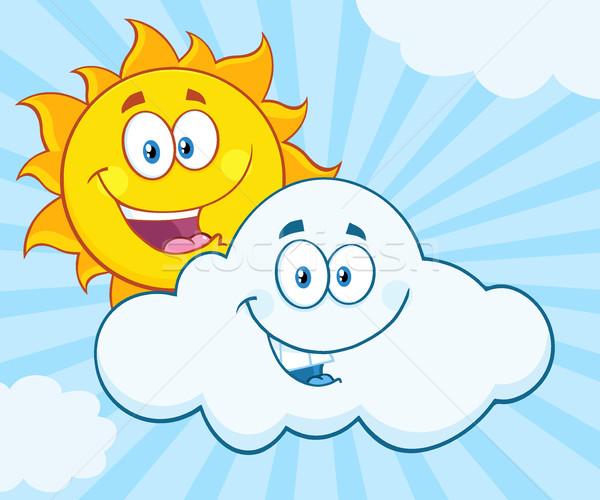 Mutlu yaz güneş gülen bulut maskot Stok fotoğraf © hittoon
