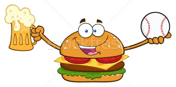 Boldog hamburger rajzfilm kabala karakter tart sör Stock fotó © hittoon