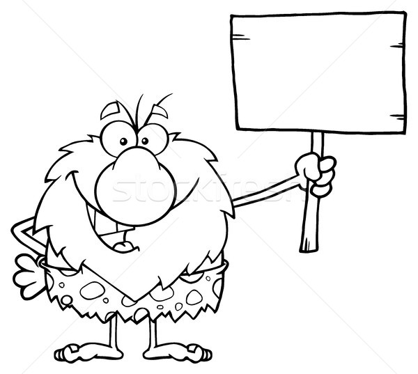 Black And White Happy Male Caveman Cartoon Mascot Character Holding A Wooden Board Stock photo © hittoon