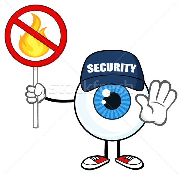 Blue Eyeball Cartoon Mascot Character Security Guard Gesturing Stop And Holding A Fire Sign Stock photo © hittoon