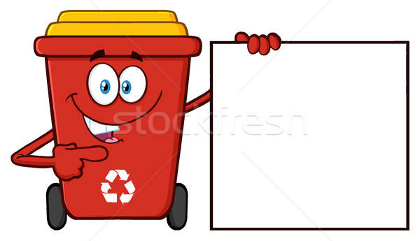 Talking Red Recycle Bin Cartoon Mascot Character Pointing To A Blank Sign Banner Stock photo © hittoon