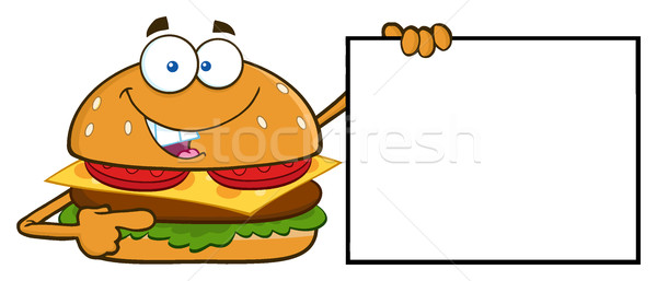 Funny Burger Cartoon Mascot Character Pointing To A Blank Sign Banner Stock photo © hittoon