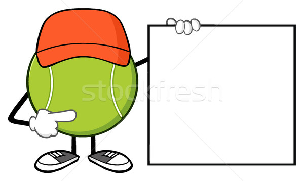 Tennisbal cartoon mascotte karakter wijzend banner Stockfoto © hittoon