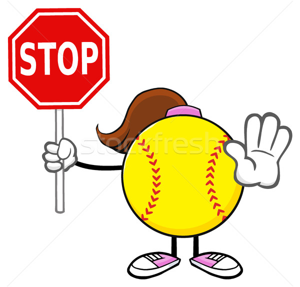 Softball Girl Faceless Cartoon Mascot Character Gesturing And Holding A Stop Sign Stock photo © hittoon
