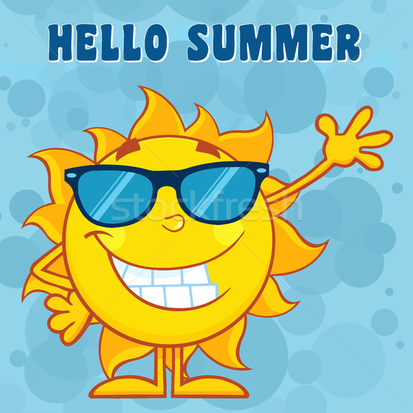 Happy Sun Cartoon Mascot Character With Sunglasses Waving For Greeting With Text Hello Summer Stock photo © hittoon
