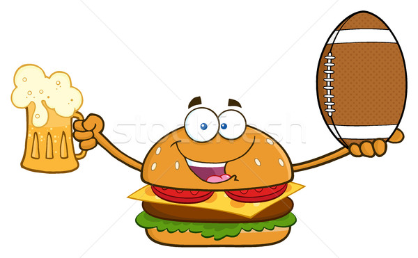 Happy Burger Cartoon Mascot Character Holding A Beer And American Football Ball Stock photo © hittoon