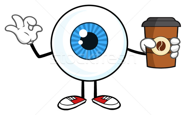 Blue Eyeball Guy Cartoon Mascot Character Holding A Take Out Cup And Gesturing Ok Stock photo © hittoon