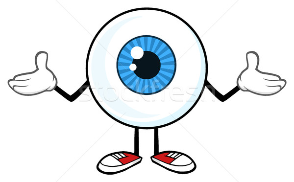 Stock photo: Blue Eyeball Guy Cartoon Mascot Character Shrugging