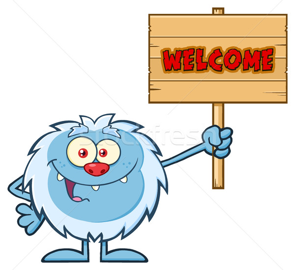 Cute Little Yeti Cartoon Mascot Character Holding Up A Welcome Wooden Sign Stock photo © hittoon