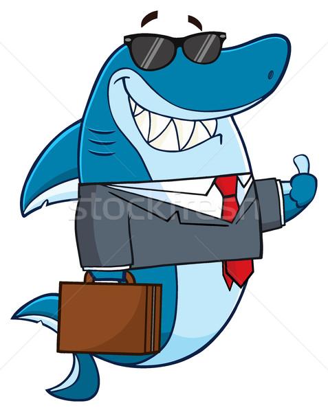 Uśmiechnięty działalności rekina maskotka cartoon charakter garnitur Zdjęcia stock © hittoon