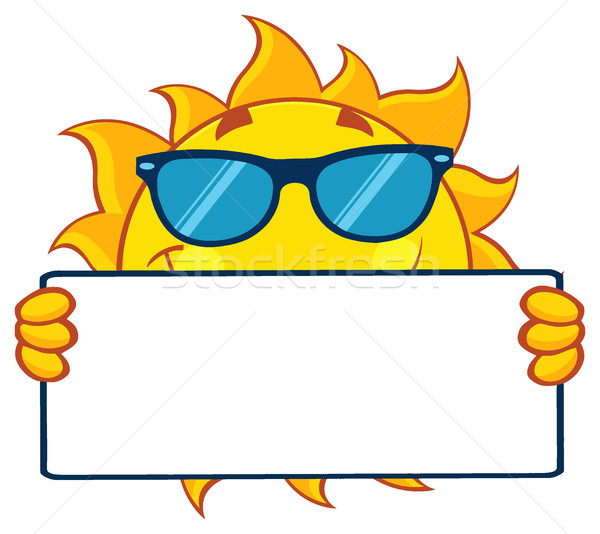 Stockfoto: Cute · zon · cartoon · mascotte · karakter · zonnebril