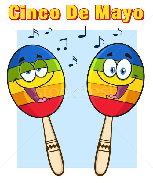 Colorful Mexican Maracas Cartoon Mascot Characters Singing  Stock photo © hittoon