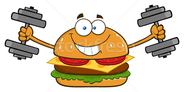 Glimlachend hamburger cartoon mascotte karakter Stockfoto © hittoon